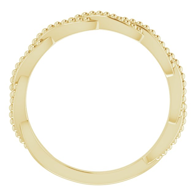 14K Yellow Stackable Twisted Beaded Ring