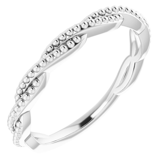 Sterling Silver Stackable Twisted Beaded Ring