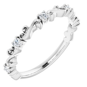 14K White 1/6 CTW Diamond Sculptural-Inspired Anniversary Band