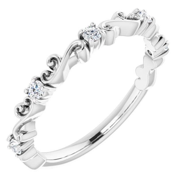 14K White 1/6 CTW Diamond Sculptural-Inspired Anniversary Band