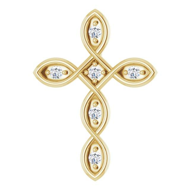 14K Yellow 1/10 CTW Diamond Cross Pendant