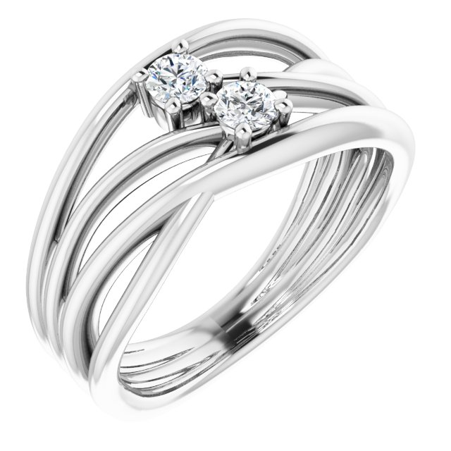 14K White 1/5 CTW Diamond Two-Stone Bypass Ring