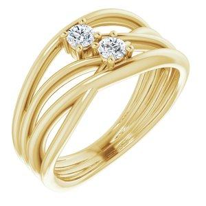 14K Yellow 1/5 CTW Diamond Two-Stone Bypass Ring