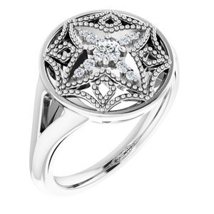 14K White 1/6 CTW Diamond Vintage-Inspired Ring