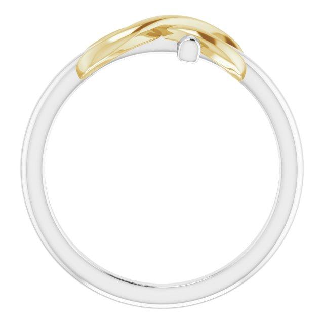 14K White & Yellow Infinity-Inspired Cross Ring