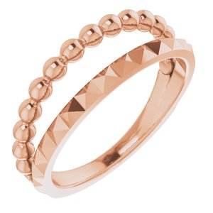 14K Rose Beaded & Geometric Stacked Ring