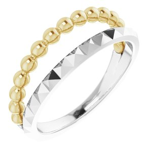 14K White & Yellow Beaded & Geometric Stacked Ring
