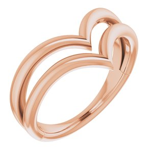 14K Rose Double V Ring