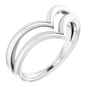 14K White Double V Ring