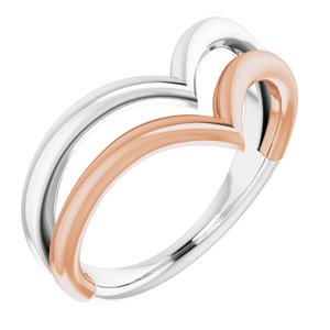14K White & Rose Double V Ring