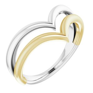 14K White & Yellow Double V Ring