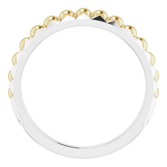 14K White & Yellow Beaded & Geometric Stacked Ring