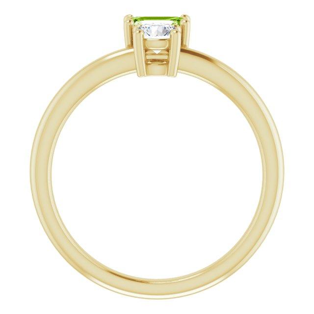 14K Yellow Peridot & White Sapphire Ring