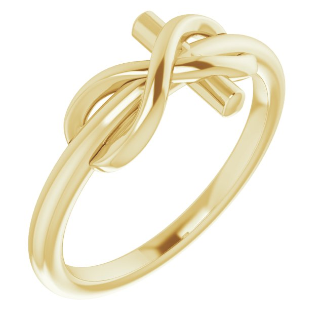 14K Yellow Infinity-Inspired Cross Ring