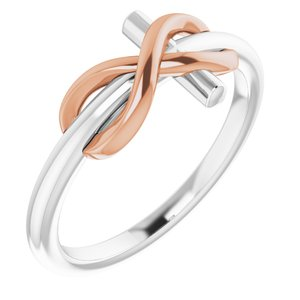 14K White & Rose Infinity-Inspired Cross Ring