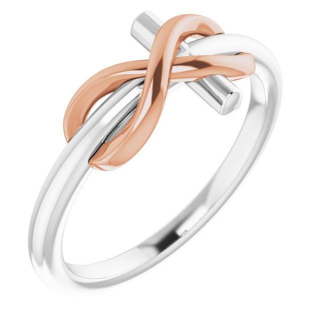 14K White & Rose Infinity-Inspired Cross Ring
