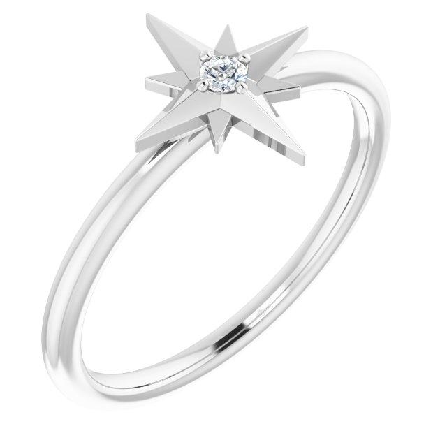 Sterling Silver .03 CT Diamond Star Ring