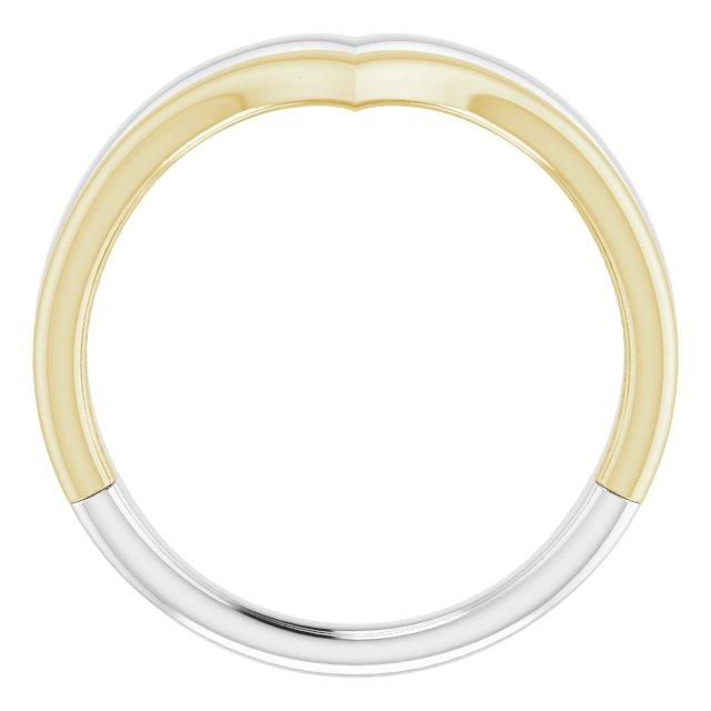 14K White & Yellow Double V Ring