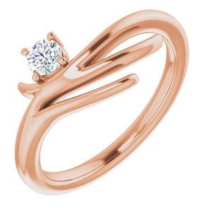 14K Rose 1/6 CTW Diamond Solitaire Freeform Ring
