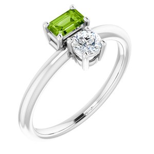 14K White Peridot & White Sapphire Ring