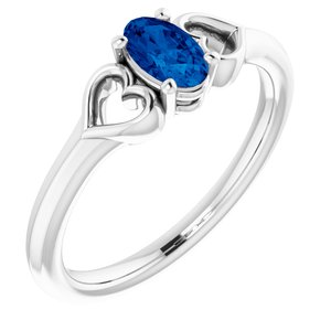 14K White Chatham® Lab-Created Blue Sapphire Youth Heart Ring