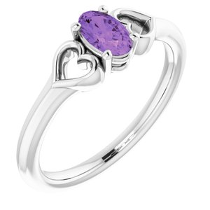 14K White 5x3 mm Oval Amethyst Youth Heart Ring