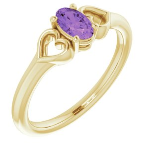 14K Yellow 5x3 mm Oval Amethyst Youth Heart Ring