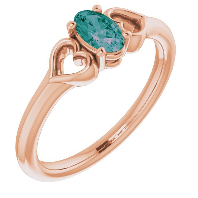 14K Rose Chatham® Lab-Created Alexandrite Youth Heart Ring