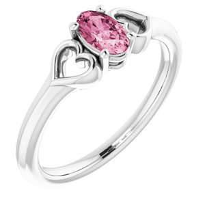 14K White 5x3 mm Oval Tourmaline Youth Heart Ring