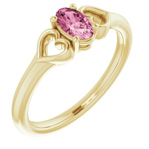 14K Yellow 5x3 mm Oval Tourmaline Youth Heart Ring