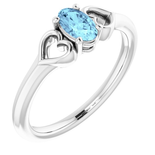 Sterling Silver 5x3 mm Oval Imitation Aquamarine Youth Heart Ring