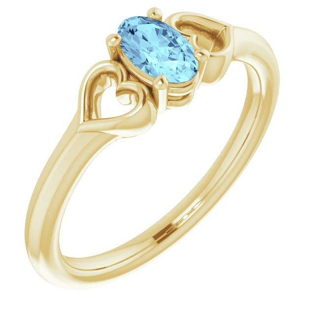 14K Yellow Aquamarine Youth Heart Ring