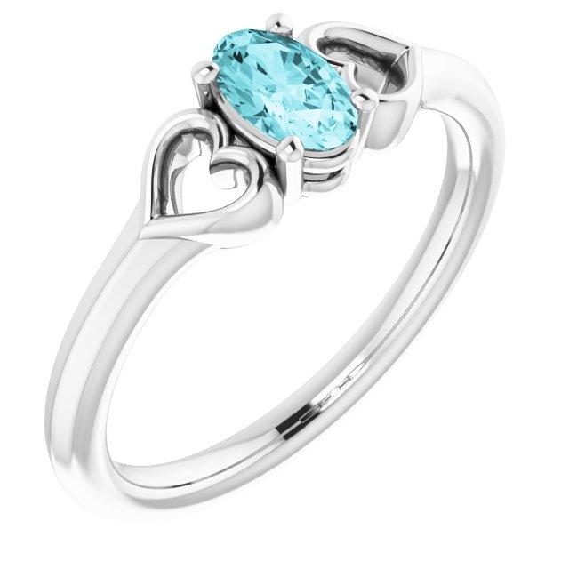 14K White Blue Zircon Youth Heart Ring