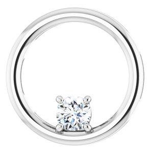 14K White 1/4 CT Diamond Pendant