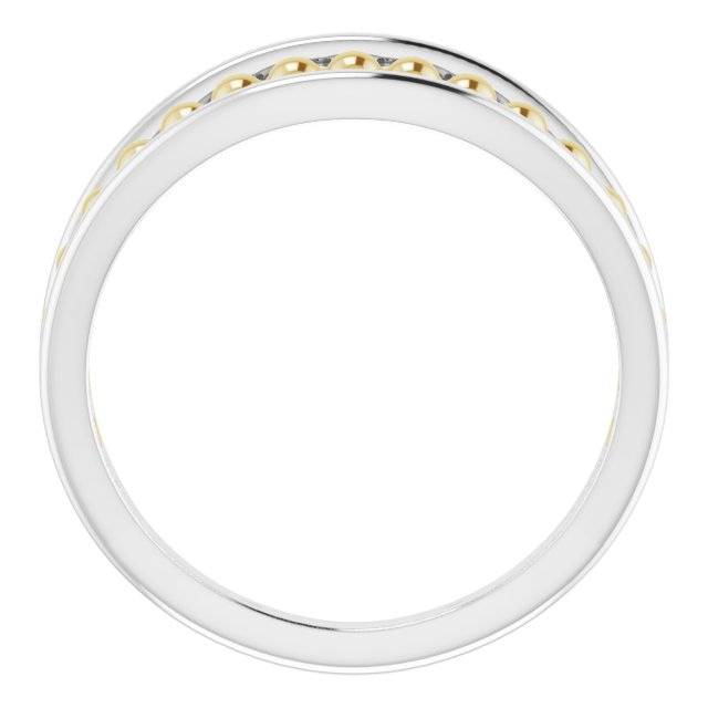 14K White & Yellow Negative Space Beaded Ring