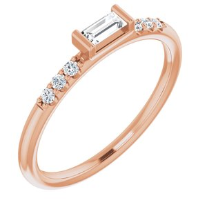 14K Rose 1/5 CTW Diamond Stackable Accented Ring