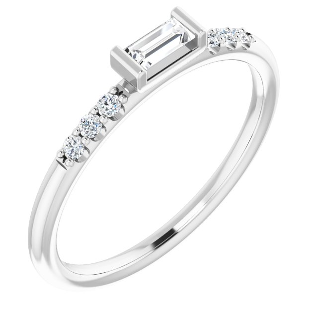 14K White 1/5 CTW Natural Diamond Stackable Accented Ring