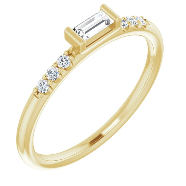 14K Yellow 1/5 CTW Diamond Stackable Accented Ring