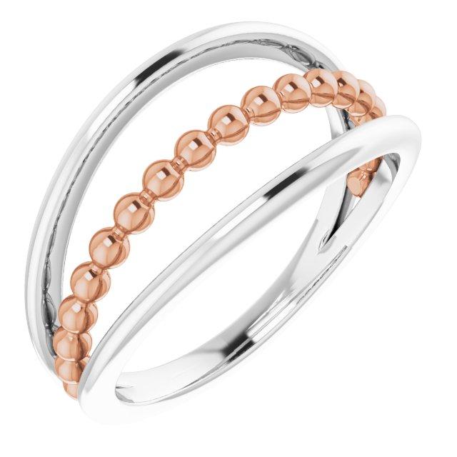 14K White & Rose Negative Space Beaded Ring