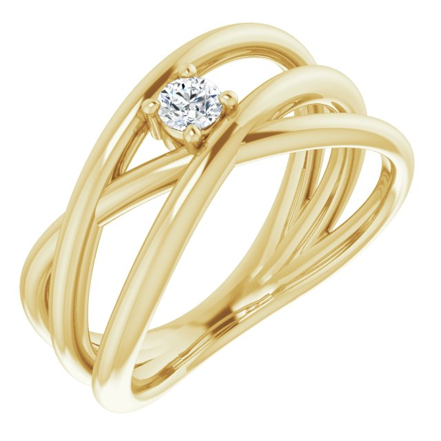 14K Yellow 1/8 CT Diamond Negative Space Ring
