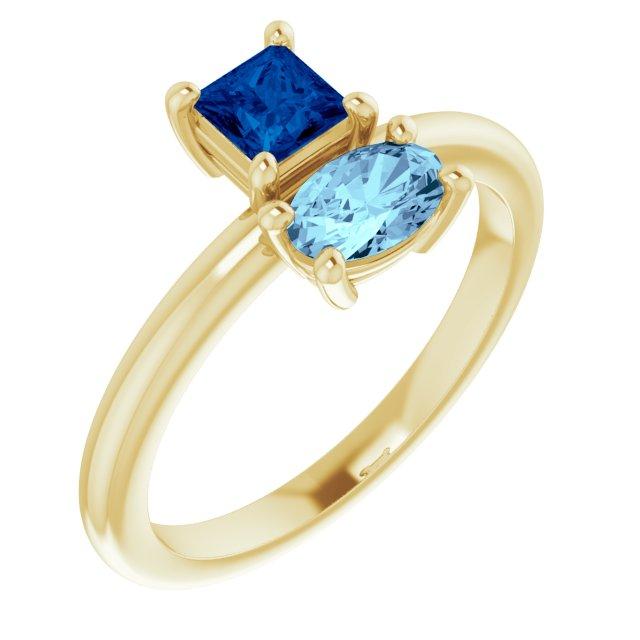 14K Yellow Blue Sapphire & Aquamarine Ring