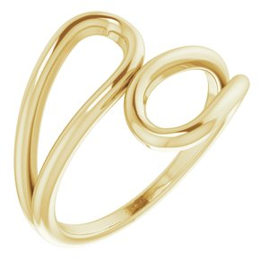 14K Yellow Loop Bypass Ring