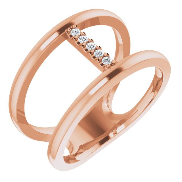 14K Rose .04 CTW Diamond Negative Space Ring