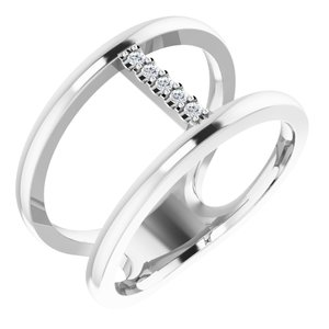 Sterling Silver .04 CTW Diamond Negative Space Ring