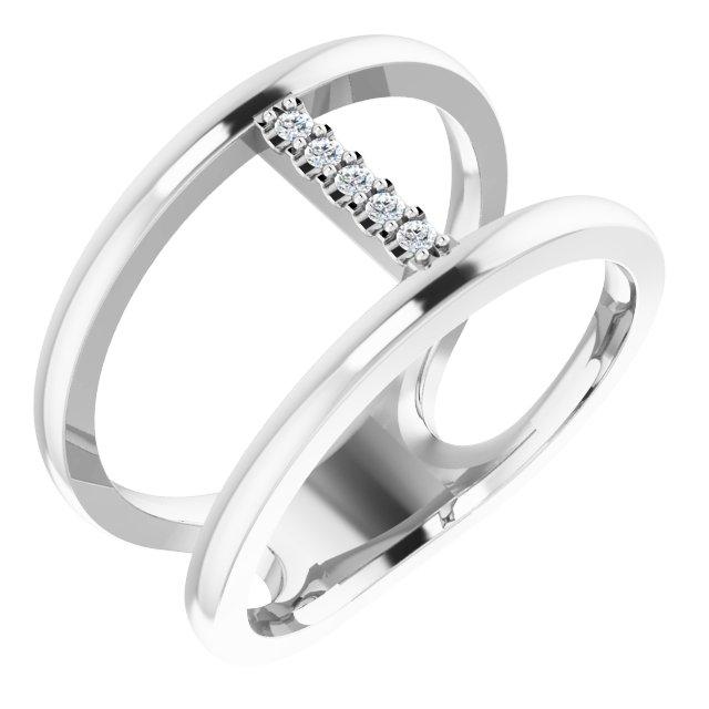 14K White .04 CTW Diamond Negative Space Ring