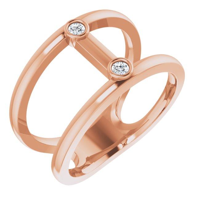 14K Rose .06 CTW Diamond Two-Stone Negative Space Ring