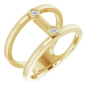 14K Yellow .06 CTW Diamond Two-Stone Negative Space Ring
