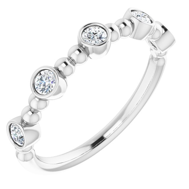 14K White 1/3 CTW Diamond Stackable Bead Ring