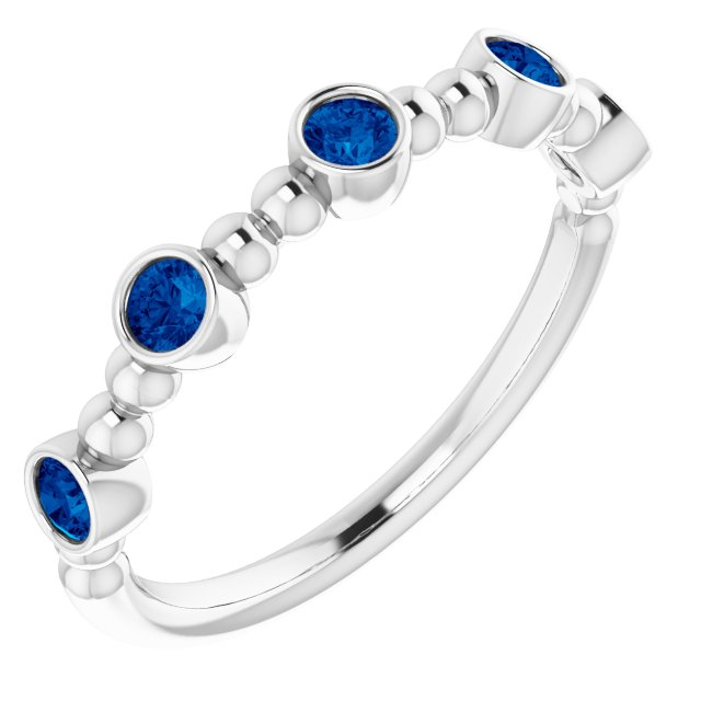 Sterling Silver Stackable Blue Sapphire Bead Ring