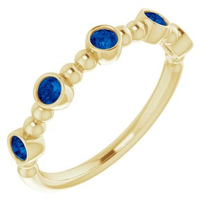 14K Yellow Sapphire Stackable Beaded Ring